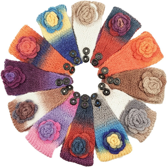 Handmade Headwear Multi Color Rosette Crochet Knit Headwrap Headband AB5208 - OPT FASHION WHOLESALE