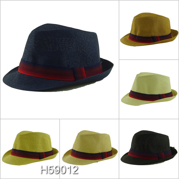 Wholesale Summer Straw Fedora Hats Unisex H59012 - OPT FASHION WHOLESALE