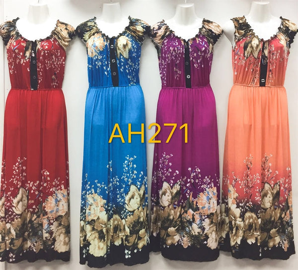 NYC Wholesale Fashion Long Maxi Flower Dresses Summer Sundresses, AH271 - OPT FASHION WHOLESALE
