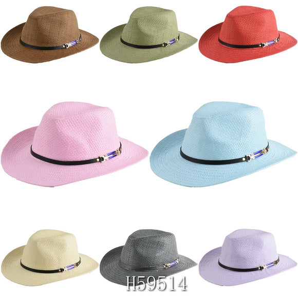 Wholesale Summer Sun Straw Wide Brim Bucket Hats H59514 - OPT FASHION WHOLESALE