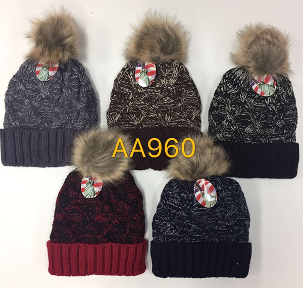 Wholesale Cable Cuffed Fur Pom Knit Beanie Hats AA960 - OPT FASHION WHOLESALE