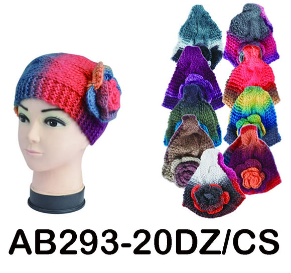 Handmade Headwear Flower Crochet Knit Multi Color Headwrap Headband Ear Warmer AB293
