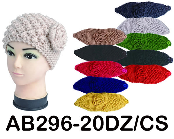 Handmade Headwear Flower Crochet Knit Headwrap Headband AB296 - OPT FASHION WHOLESALE