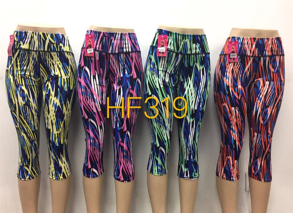 NYC Wholesale Yoga Gym Capri Sports Leggings, HF319 - OPT FASHION WHOLESALE
