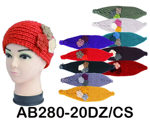 Handmade Headwear Flower Crochet Knit Headwrap Headband Ear Warmer AB280 - OPT FASHION WHOLESALE