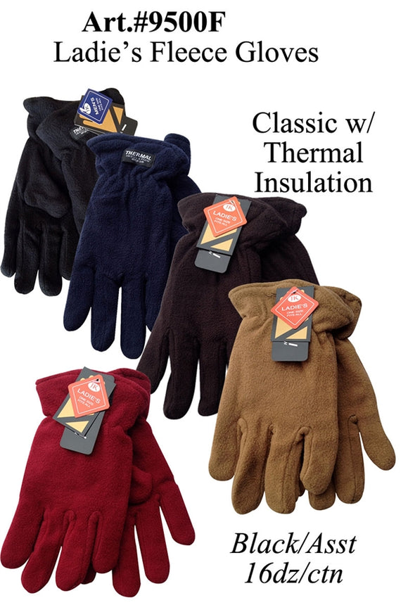 Ladies Classic Fleece Gloves Solid Plain G9500F - OPT FASHION WHOLESALE