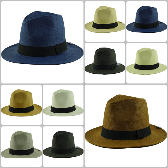 Wholesale Natural Straw Fedora Hats Unisex H59346 - OPT FASHION WHOLESALE