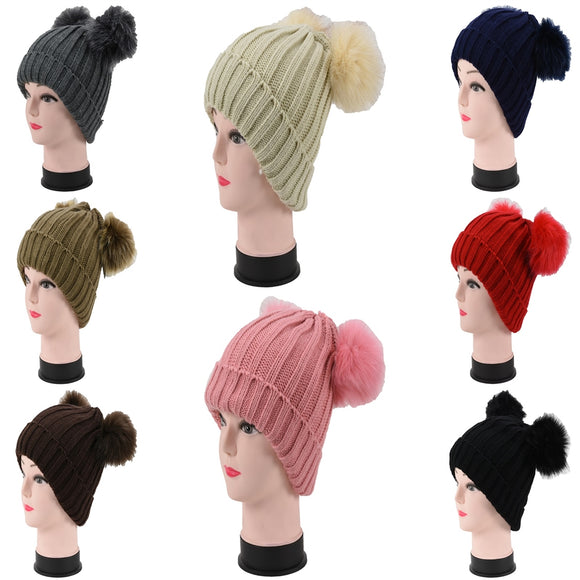 Wholesale Cuffed Knit Beanie Hats W/Fur Pom H53095 - OPT FASHION WHOLESALE