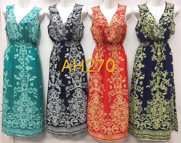 NYC Wholesale Fashion Long Maxi Flower Dresses Summer Sundresses, AH270 - OPT FASHION WHOLESALE