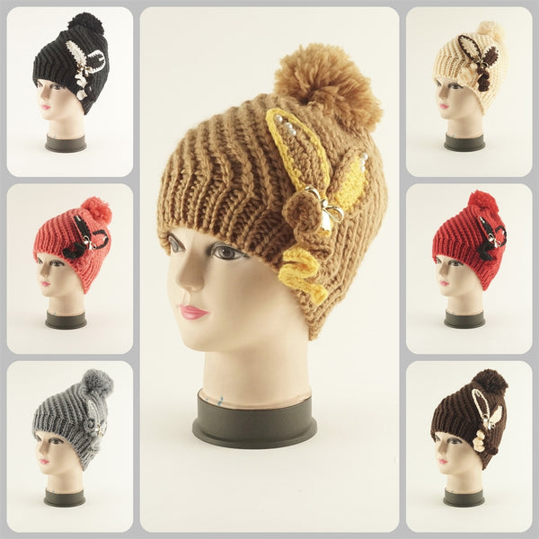 Hand Knit Crochet Flower Hat H53034 - OPT FASHION WHOLESALE