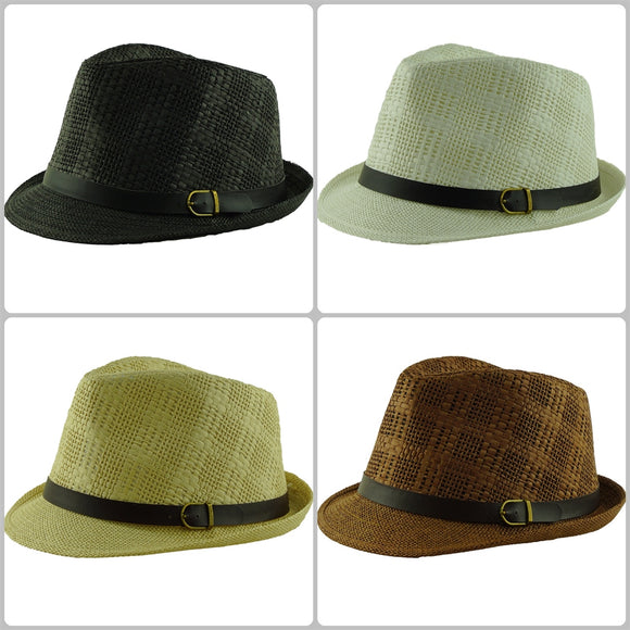 Wholesale Natural Straw Fedora Hats Unisex H59351 - OPT FASHION WHOLESALE