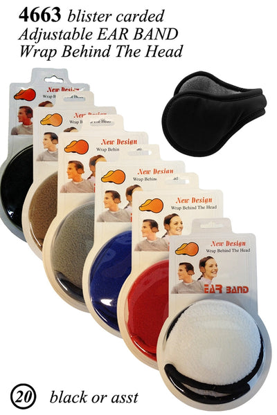 Wholesale Adjustable Fleece Earband Earmuff Ear Warmer W/Retail Package 4663 - OPT FASHION WHOLESALE