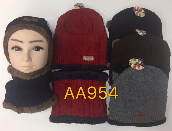 Wholesale Knit Beanie Hats And Neck Warmer 2 PC Set, AA954 - OPT FASHION WHOLESALE