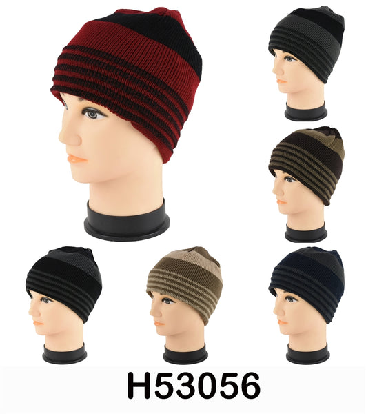 Wholesale Knit Stripe Beanie Hats H53056 - OPT FASHION WHOLESALE