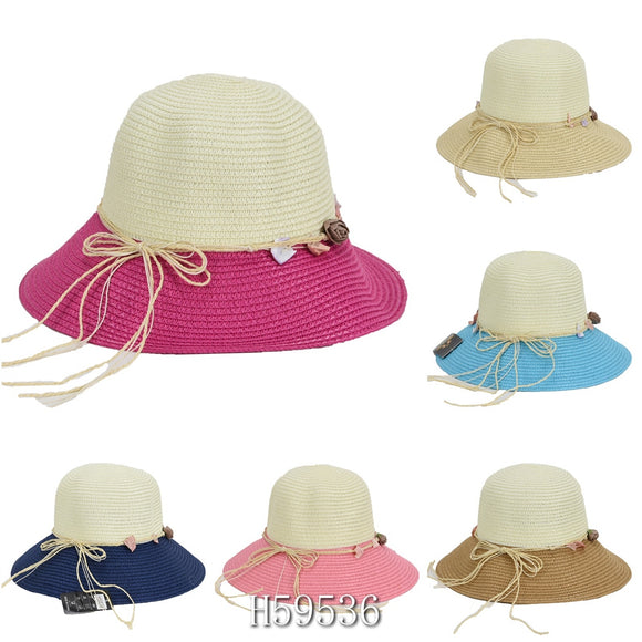 Wholesale Summer Sun Straw Fedora Bucket Hats H59536 - OPT FASHION WHOLESALE