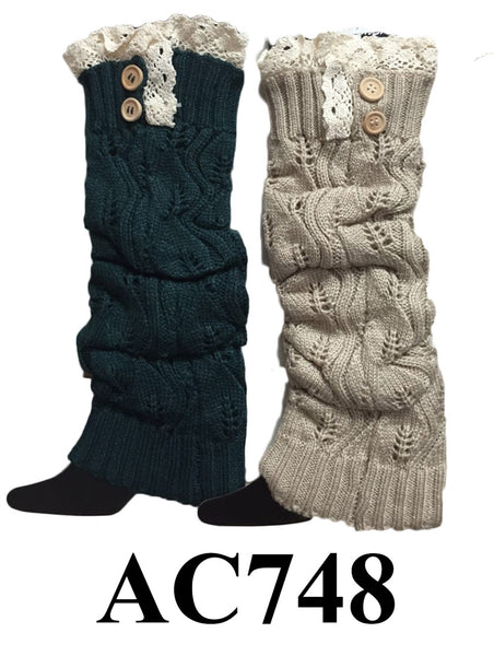 Cable Knit Button Leg Warmers Boot Cuffs AC748 - OPT FASHION WHOLESALE