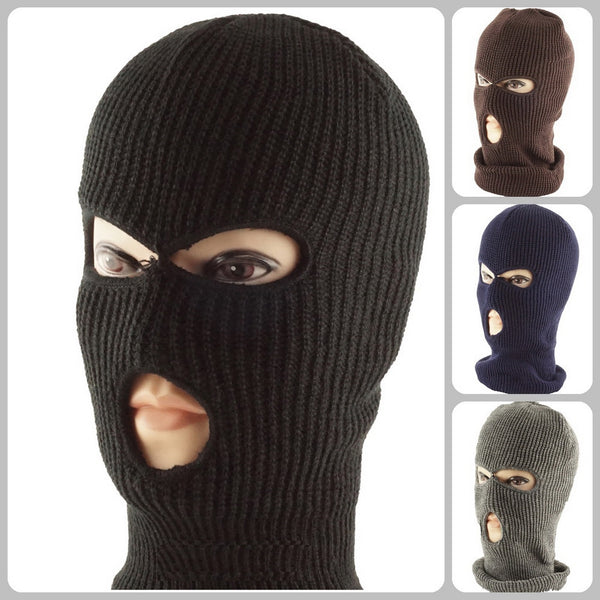 Wholesale Knit Ski Face Balaclava Mask Tri-hole High Quality Black Color H53001 - OPT FASHION WHOLESALE