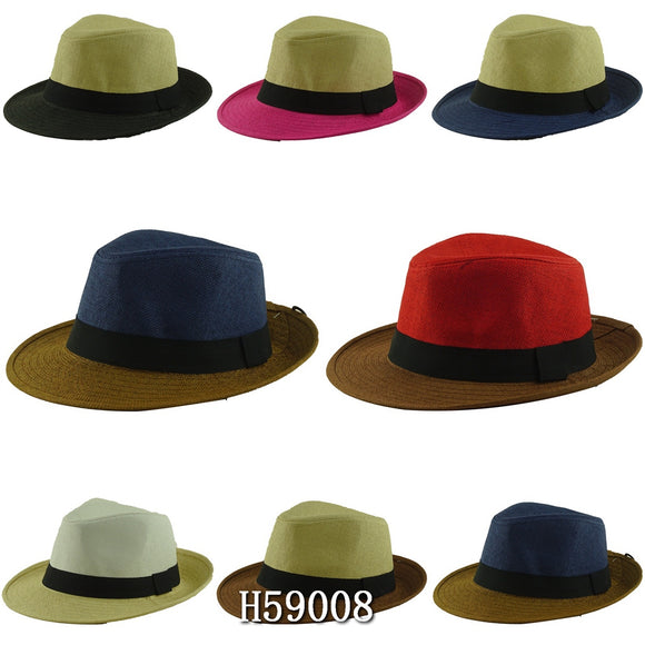 Wholesale Summer Straw Fedora Hats Unisex H59008 - OPT FASHION WHOLESALE