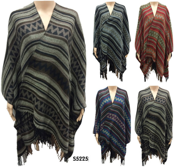 Mix Print Stripe Ponchos Tops Capes Wraps Assorted Colors PS5225 - OPT FASHION WHOLESALE