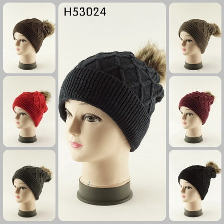Cable Cuffed Pom Knit Beanie Hats H53024 - OPT FASHION WHOLESALE