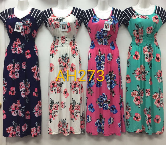 NYC Wholesale Fashion Long Maxi Flower Dresses Summer Sundresses, AH273 - OPT FASHION WHOLESALE