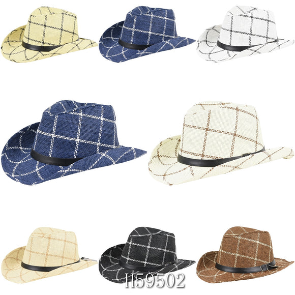 Wholesale Summer Sun Straw Cowboy Hats H59502 - OPT FASHION WHOLESALE
