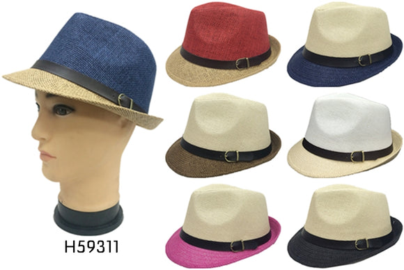 Wholesale Natural Straw Fedora Hats Unisex H59311
