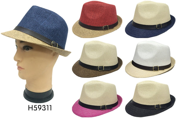Wholesale Natural Straw Fedora Hats Unisex H59311 - OPT FASHION WHOLESALE