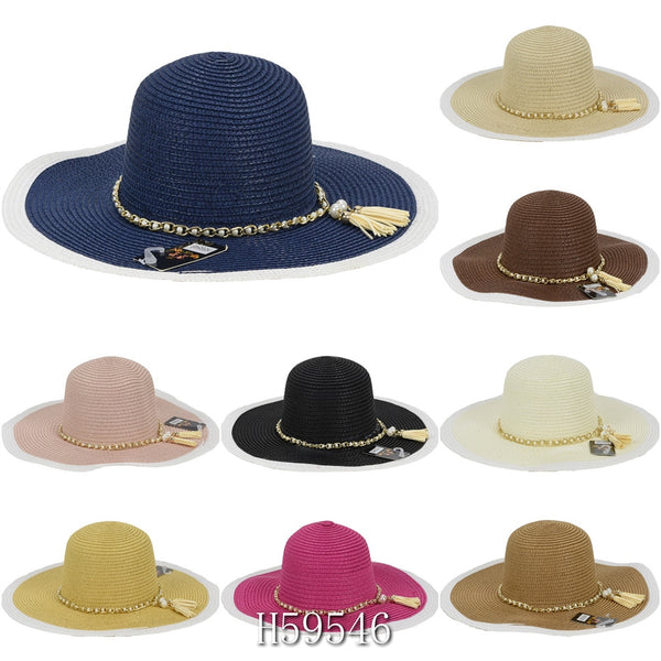 Wholesale Summer Sun Straw Hat Floppy Beach Cap H59546 - OPT FASHION WHOLESALE