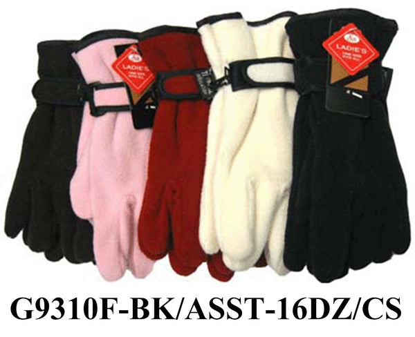 Lady Fleece Insulation Gloves Velcro Strap High Quality G9310F - OPT FASHION WHOLESALE