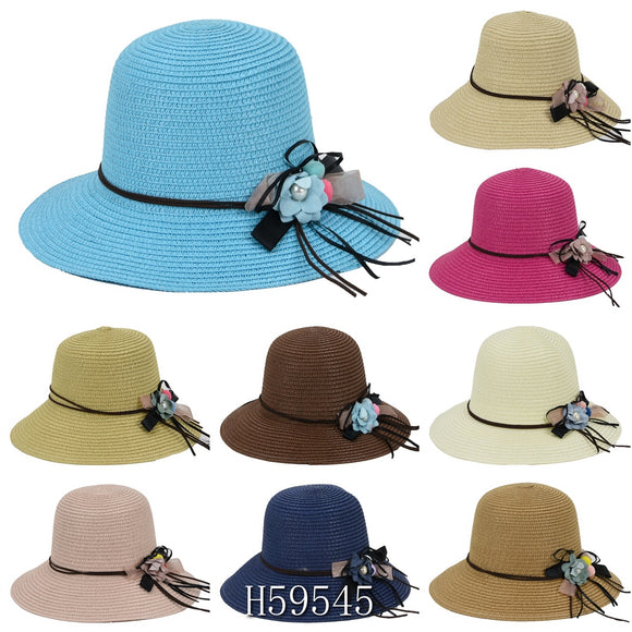 Wholesale Summer Sun Straw Fedora Bucket Hats H59545 - OPT FASHION WHOLESALE