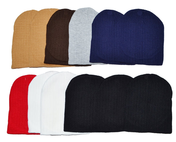 Wholesale Ribbed Knit Solid Short Beanie Hats H8007