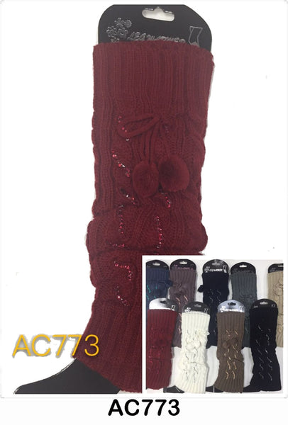 Wholesale Cable Knit Long Leg Warmers Boot Cuffs AC773 - OPT FASHION WHOLESALE