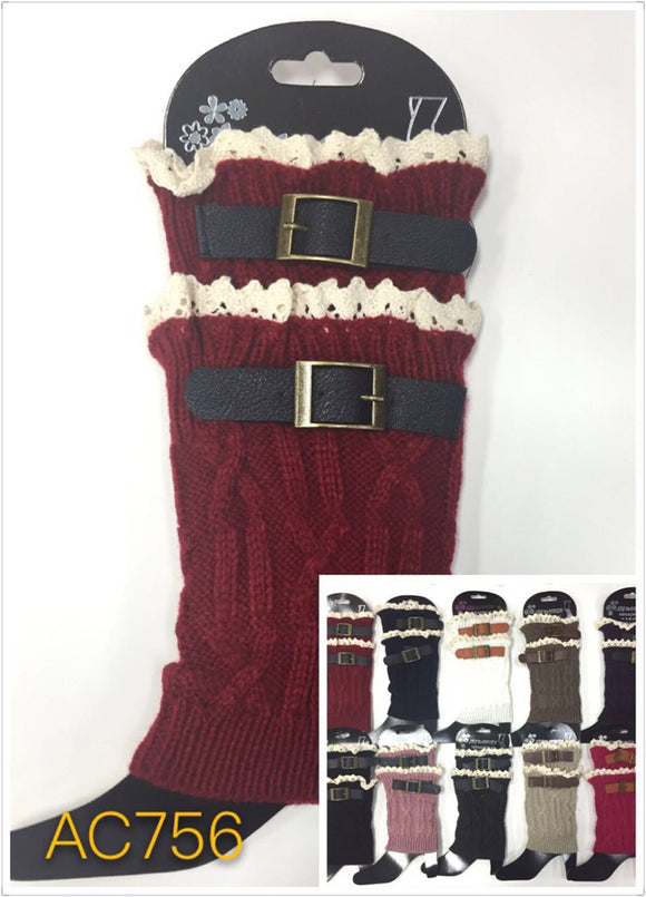 Wholesale Cable Knit Button Short Leg Warmers Boot Cuffs AC756 - OPT FASHION WHOLESALE