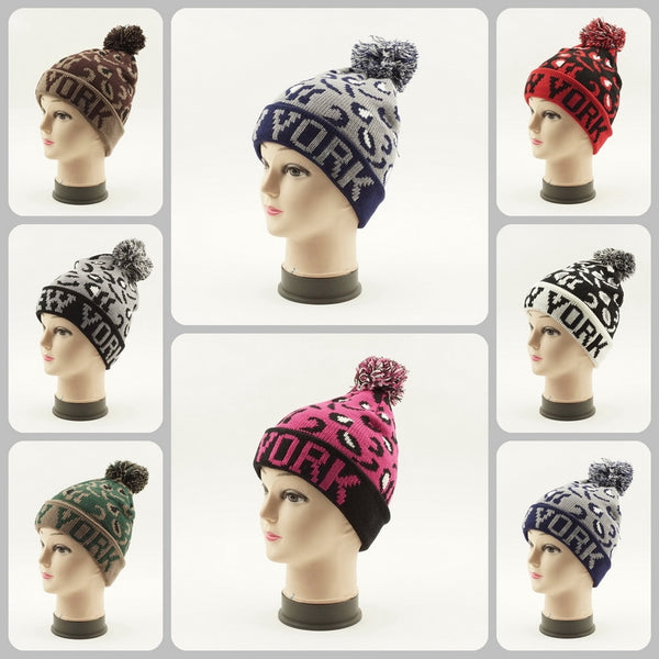 Cuffed Knit Pom Beanie New York Hats H53012 - OPT FASHION WHOLESALE