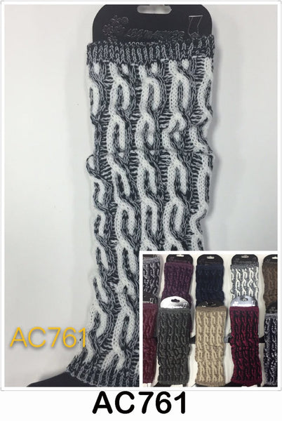 Wholesale Cable Knit Long Leg Warmers Boot Cuffs AC761 - OPT FASHION WHOLESALE