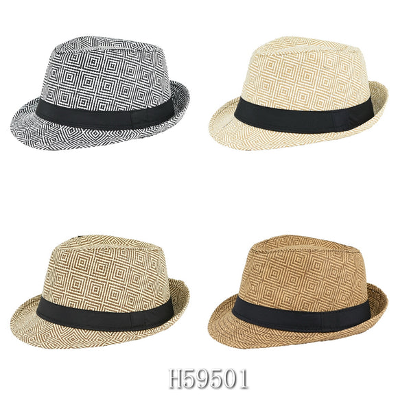 Wholesale Summer Sun Straw Fedora Hats H59501 - OPT FASHION WHOLESALE