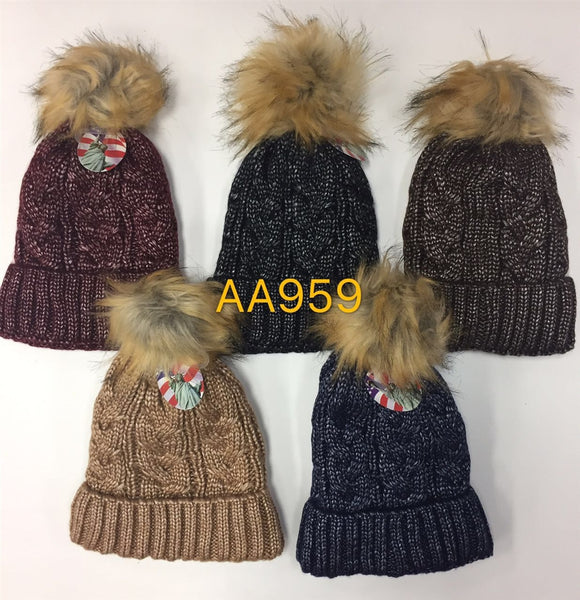 Wholesale Cable Cuffed Fur Pom Knit Beanie Hats AA959 - OPT FASHION WHOLESALE
