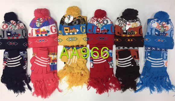 Wholesale Kids Children Boys Girls 3PCS SET Winter Hats Scarf Gloves AA966 - OPT FASHION WHOLESALE