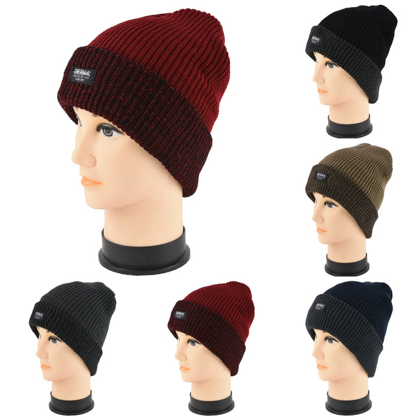 Wholesale Knit Thermal Cuffed Long Beanie Hats H53061 - OPT FASHION WHOLESALE