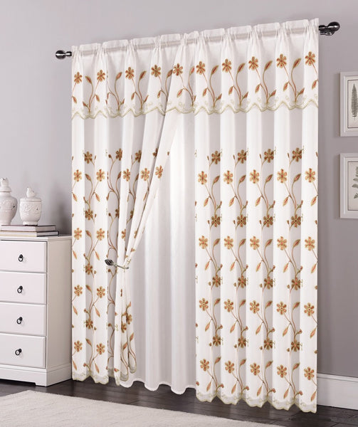 Double Layers Organza Sheer Embroidered Rod Pocket Window Curtain Panel and Valance, 81006 - OPT FASHION WHOLESALE