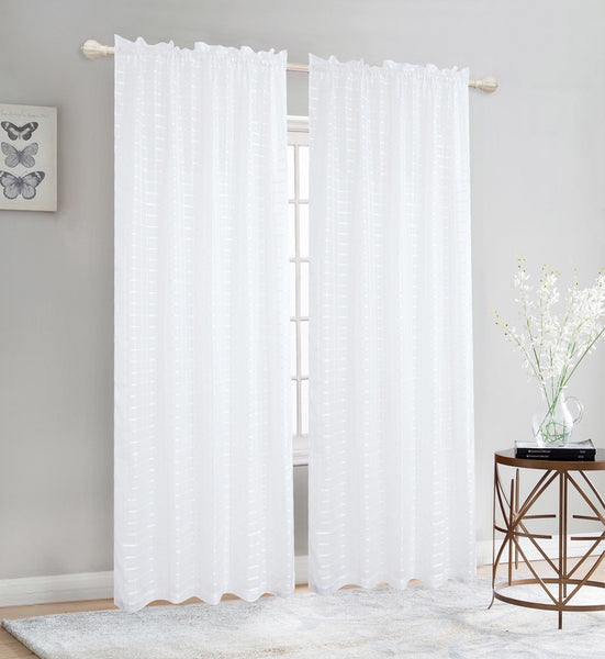 Elegance Sheer Rod Pocket Window Curtain Panel, FF1008 - OPT FASHION WHOLESALE