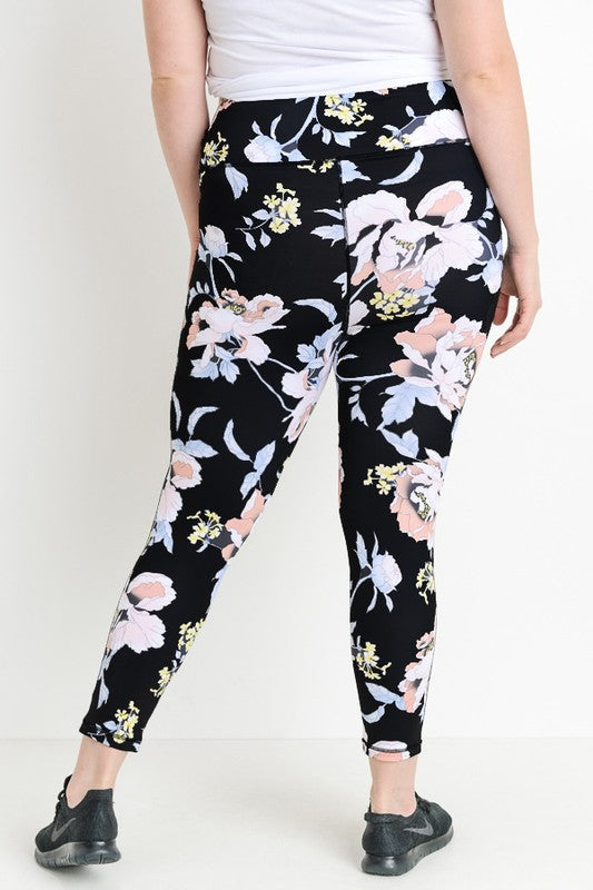 Tropical Floral Print, Compression Leggings - CURVY