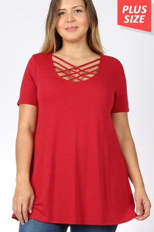 Criss-Cross Casual Tee, Plus