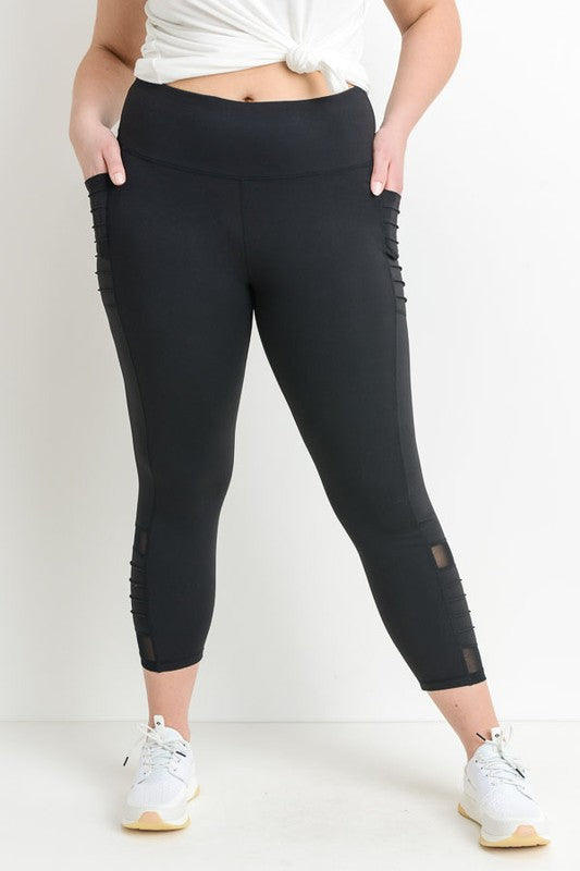 Regally Ribbed, High Waisted Leggings - CURVY