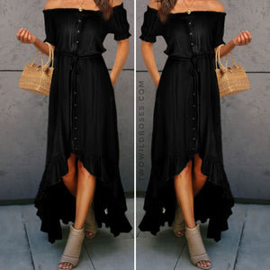 Take Me Out, Hi-low Cascading Ruffle Maxi Dress - Black