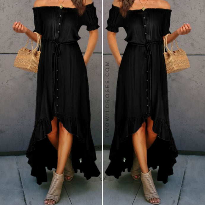 Swing into Spring, Hi-low Cascading Ruffle Maxi Dress - Black