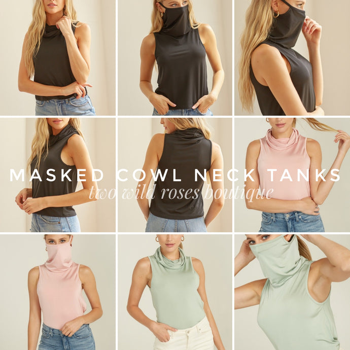 Masked Cowl Neck Tanks, Various Colors
