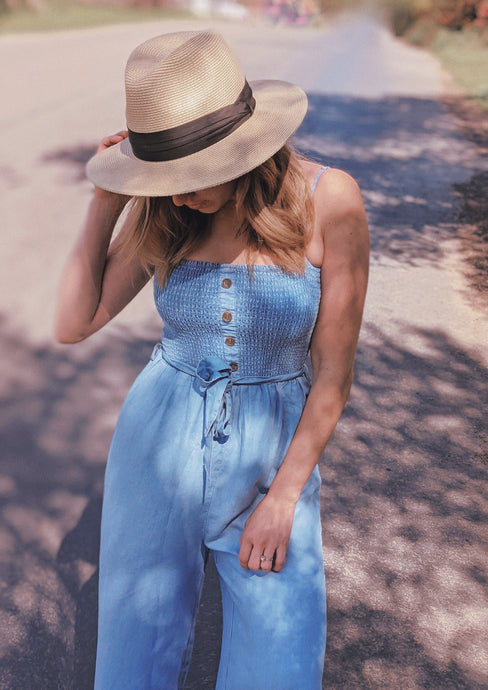 Calla Lily Jumpsuit, Baby Blue