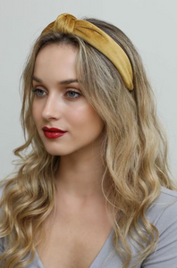 Velvet Twist Headband, Gold
